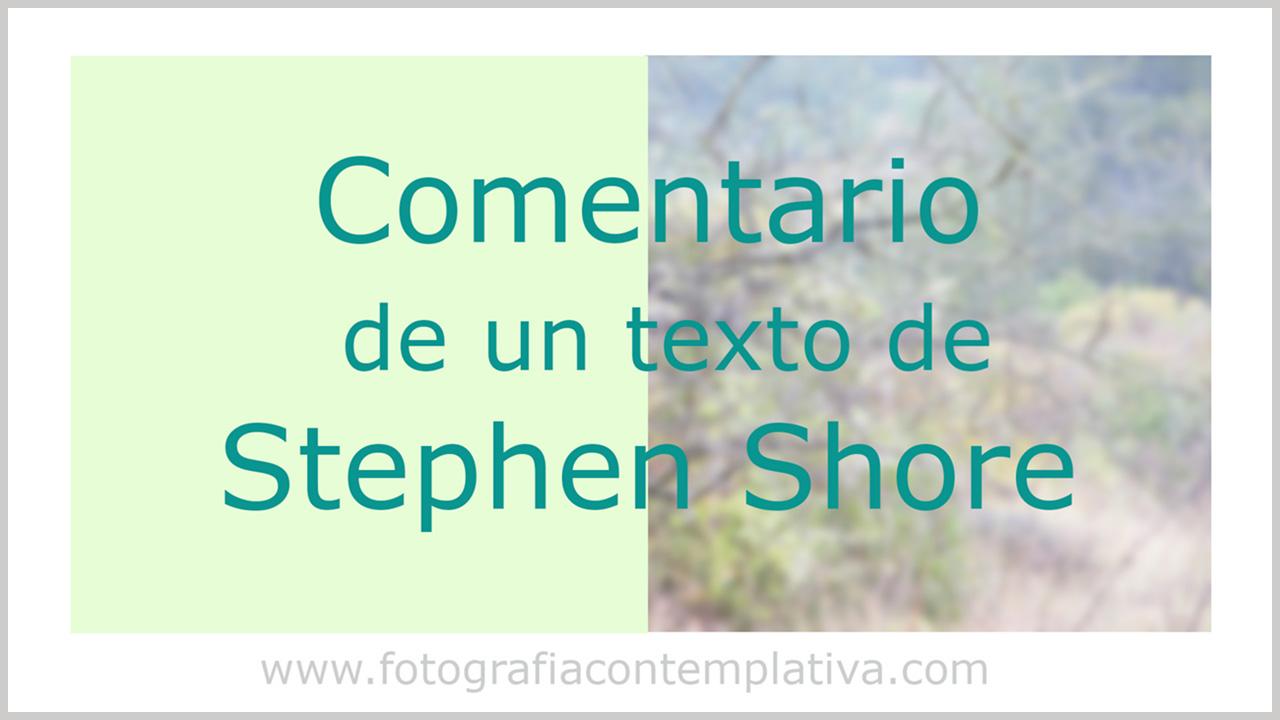 Comentario de un texto de Stephen Shore